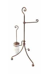 NUVOLA- FREE STANDING TOILET SET - TOILET PAPER AND BRUSH HOLDER- RUST FINISH